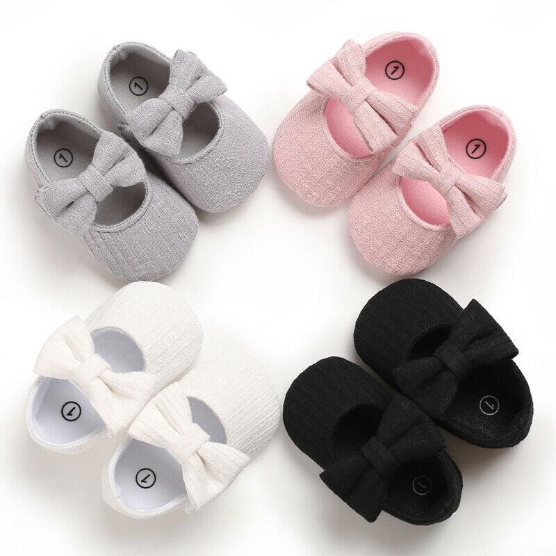 1Pair Newborn Baby Girls Crib Pram Shoes Soft Sole Anti Slip Cotton Princess Bowknot Walkers Sneaker Prewalkers First Walkers