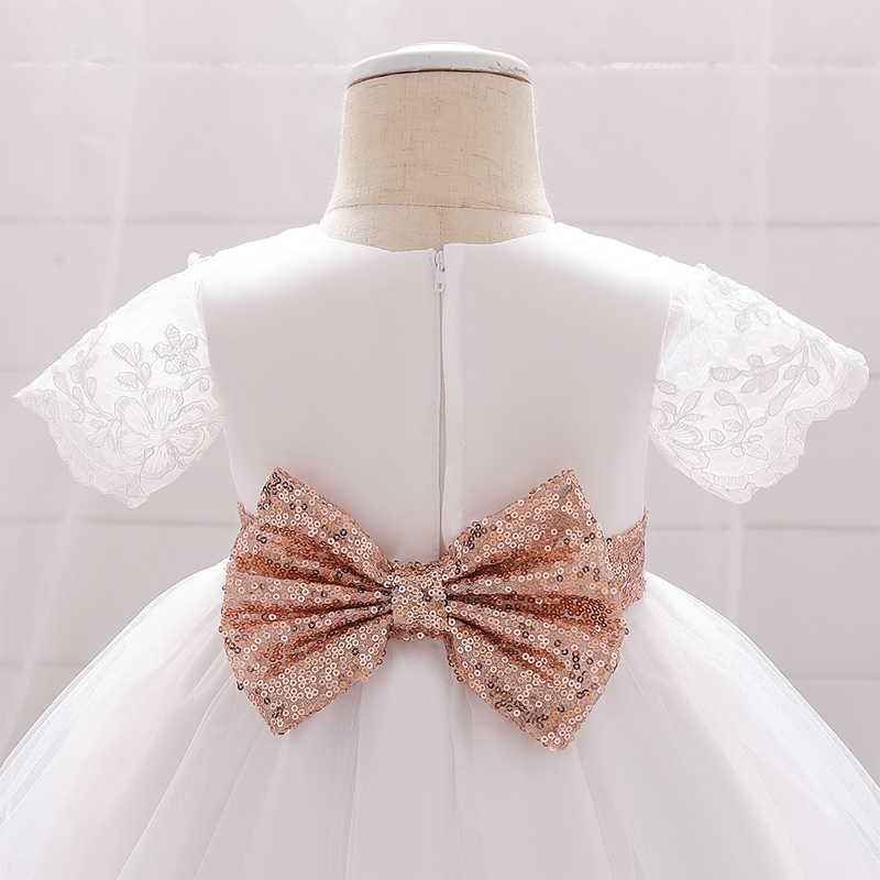 2020 Summer Sequins Bow Dress For Baby Girl Clothes 1st Birthday Princess Toddler Outfits Party Ceremony Gown Infant Dresses