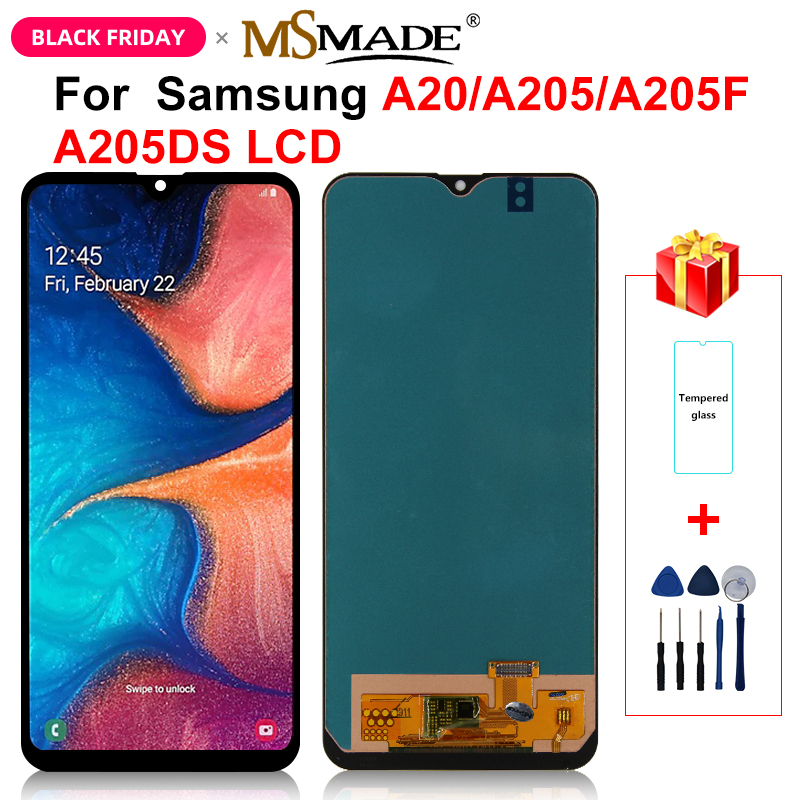 A205 <font><b>LCD</b></font> For <font><b>Samsung</b></font> <font><b>Galaxy</b></font> <font><b>A20</b></font> A205 SM-A205F <font><b>LCD</b></font> Display <font><b>Screen</b></font> Digitizer replacement For <font><b>A20</b></font> 2019 A205 SM-A205F Display image