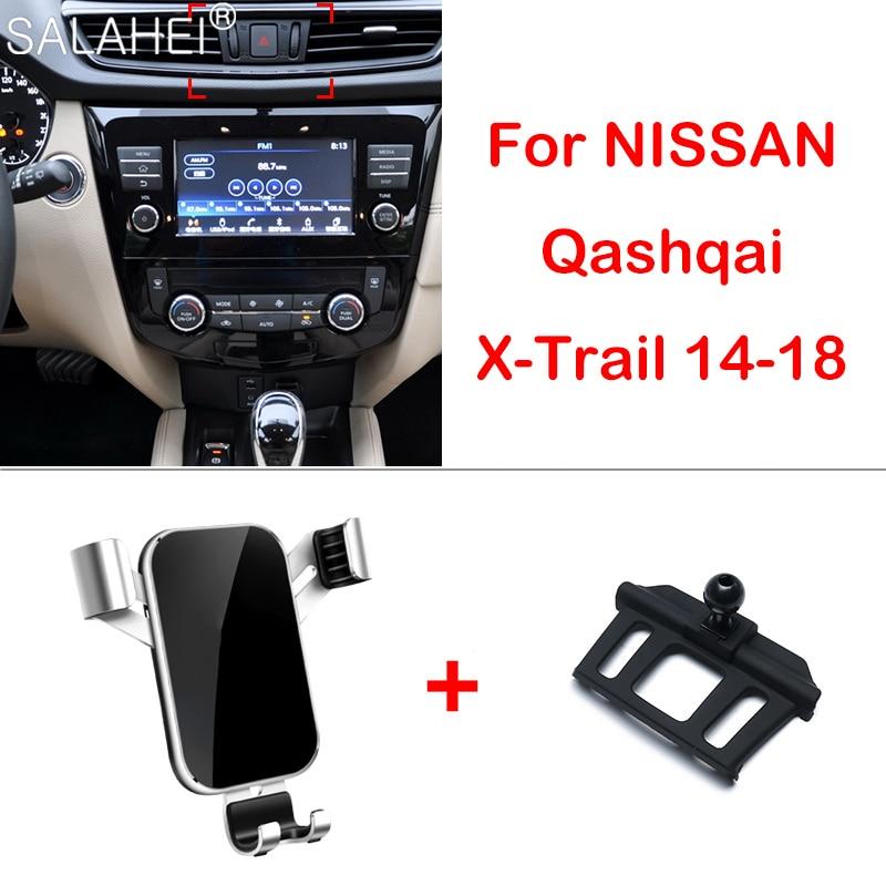 Soporte de teléfono portátil para coche para Nissan Qashqai J11 2016 2017 tablero de instrumentos de ventilación GPS soporte de montaje de teléfono para Qashqai 2018 2019