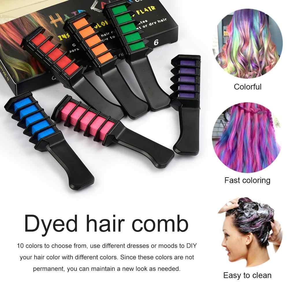 10 pièces Mini peigne de teinture de couleur de cheveux jetable utilisation de Salon personnel Crayons temporaires outil de teinture de cheveux couleur craie