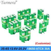 3S 4 4S 5 5S 6S 12.6V 16.8V 18V 25V 18650 Battery Pack US18650VTC6 3000mAh 600mAh batteria cacciavite 30A per shura (personalizza)