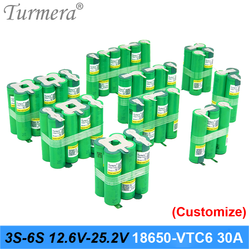 3S 4S 5S 6S 12.6V 16.8V 18V 25V 18650 Battery Pack US18650VTC6 3000mAh 600mAh 30A for shura screwdriver battery (customize) image