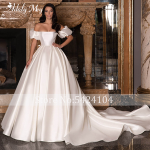 Image 3 - Adoly Mey New Romantic Boat Neck Backless A Line Wedding Dresses 2020 Graceful Satin Chapel Train Princess Bride Gown Plus Size