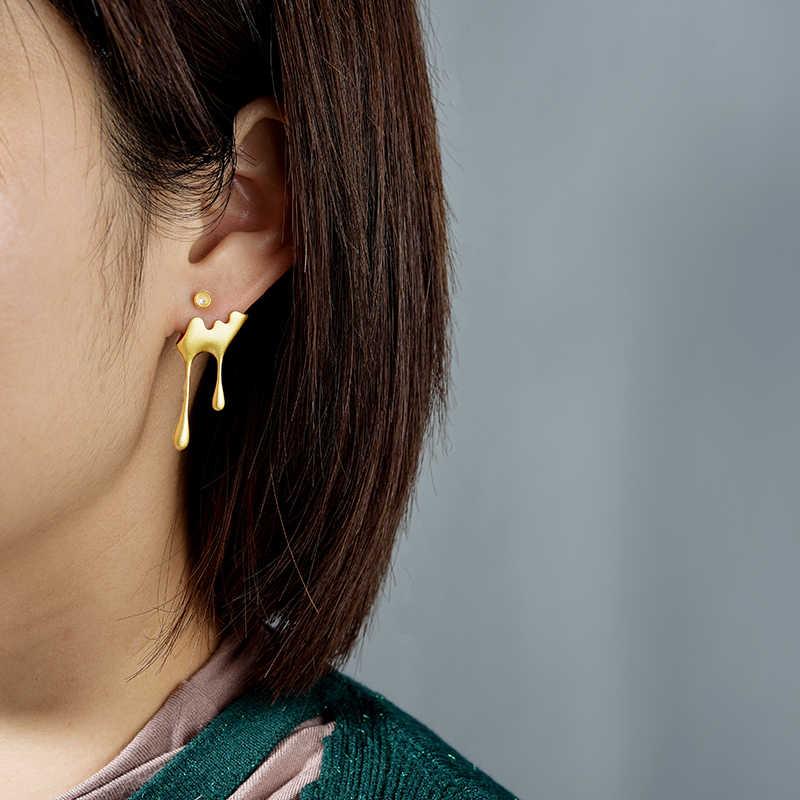 Lotus fun real 925 prata esterlina artesanal jóias finas 18k ouro abelha e gotejamento mel assimétrico brincos para presente feminino