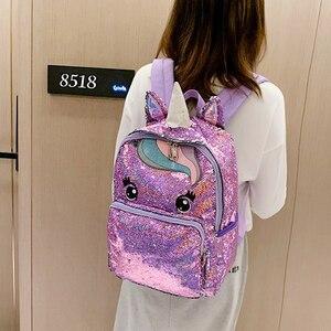 Image 3 - Cartable multicolore licorne pour enfants, sac à dos pour filles, sac décole à paillettes, sac décole pour adolescents