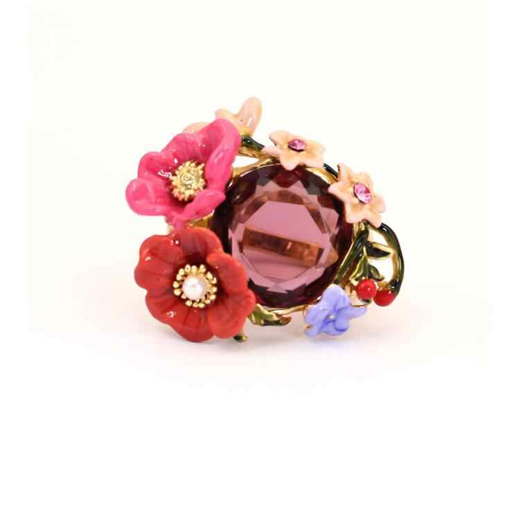CSxjd Factory wholesale enamel glaze flower ring animal ring gem rings luxury Women jewelry