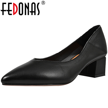 FEDONAS New Classic Design Concise Elegant Women Solid Color Cow Leather Pumps Pointed Toe Thick Heel Shallow Casual Shoes Woman