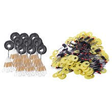 1300 Pcs Fishing Bobber Stopper 7 in 1/6 in 1 Black/ Yellow Rubber Oval Float Space Bead Connector Fishing Gear for 1.5-3.0 Line(China)