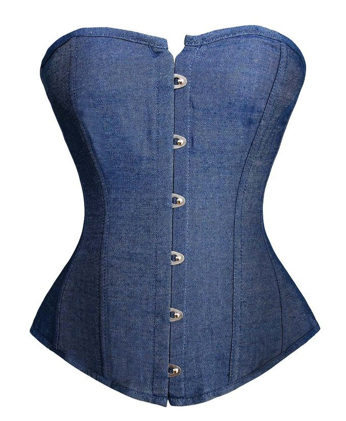 Sexy Denim   Corset   Vintage Style Strapless   Bustier     Corset   Overbust Victorian Sexy Lingerie Top Clothing Korsett Lenceria Mujer