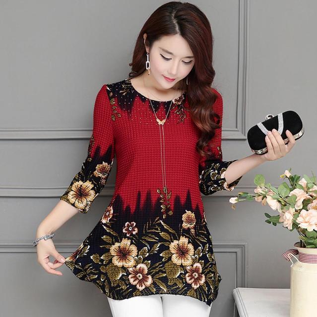 2020 New Arrival Fashion Summer Three Quarter Slim floral long Shirt Female Casual Slim Color Plus Size elegant Printed Blouse 3