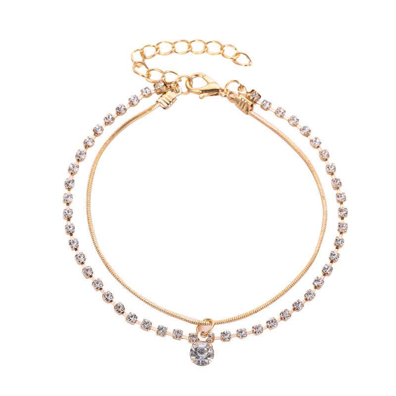 Prosta konstrukcja gwiazda srebrny łańcuszek na kostkę dla kobiet bransoletka dla kostki i nogi moda Foot biżuteria