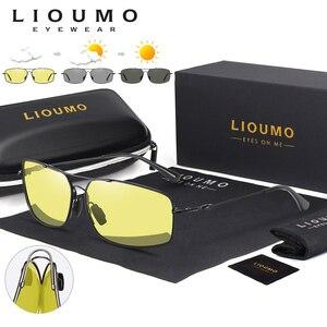 Image 1 - 2020 moda pamięci metalowe okulary przeciwsłoneczne mężczyźni spolaryzowane fotochromowe dzień okulary do jazdy nocą kobiety przebarwienia soczewki lentes de sol