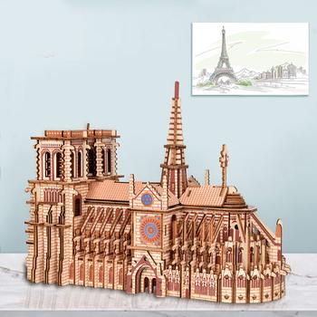 3D drewniane puzzle katedry Notre Dame żaglówka samolot DIY Jigsaw Woodcraft zestaw zabawki edukacyjne dla dzieci budynku Model robota tanie i dobre opinie 7-12y 12 + y CN (pochodzenie) Unisex Drewna 3D PUZZLE Budowa No Fire Notre Dame Cathedral 7 sheets set 239 pieces 28 7x12x22cm