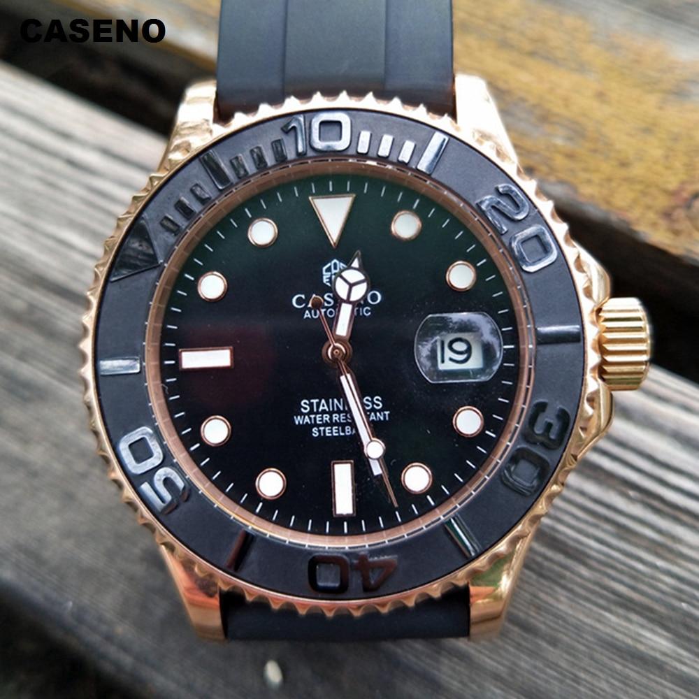 Montre automatique de luxe de marque supérieure hommes mécaniques hommes montres en céramique noire bague extérieure or en acier inoxydable Silicone montre