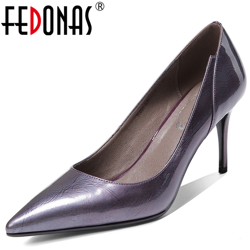 FEDONAS Female Spring Summer Basic High Heels Quality Cow Patent Leather Women Pumps Slip On Dancing Party Office Shoes Woman