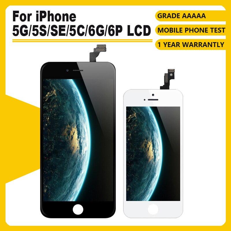 AAA + + + iPhone 5s 5G SE 5C LCD 3D kuvvet dokunmatik ekranlı sayısallaştırıcı grup iPhone 6G 6 artı ekran yok ölü piksel + aracı