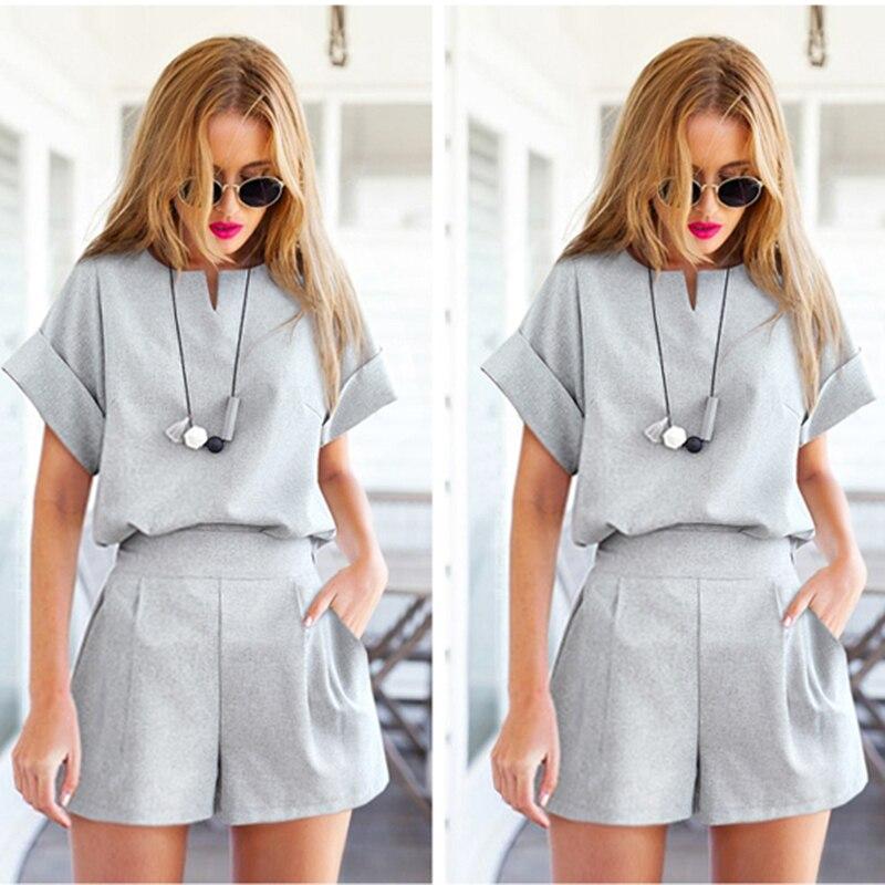 Summer Female Tee Sets Women Casual Suit Solid Short Sleeve T-shirt Top+Short 2 Piece Set Fitness Wear Plus Size 5XL