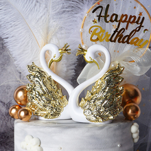 Dress-Up-Supplies Cake-Decoration Swan Crown Birthday-Party Wedding Plastic Gold Silver