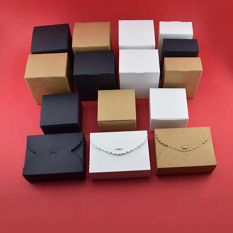 Small Kraft paper box  brown  white black cardboard handmade soap box candy gift jewelry packaging box Cardboard Carton