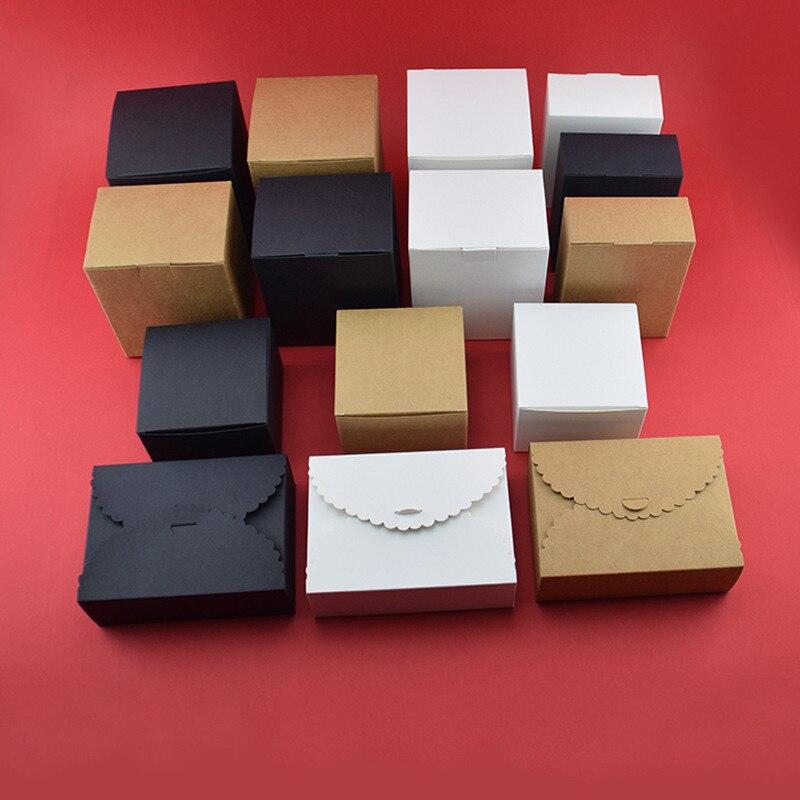 Small Kraft Paper Box  Brown  White Black Cardboard Handmade Soap Box Candy Gift Jewelry Packaging Box Cardboard Carton