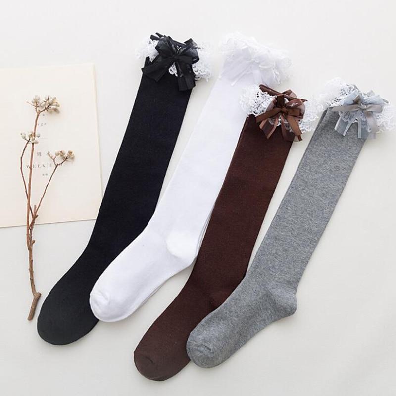 Cute Lace Long Stockings Women Lolita High Knee Socks Femme Cotton Socks Leg Streetwear Calcetines Christmas