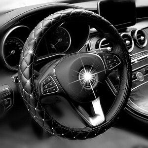 Image 1 - Universal 38cm Steering Wheel Cover Bling Rhinestones Crystal Car Handcraft Steering Wheel Covers Soft Leather for Girls ladies