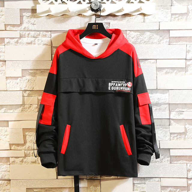 New Mens Hoodie Contrast color  Patchwork Casual Hoodie Gym Bodybuilding Cotton Long Sleeve Top Hooded Shirt