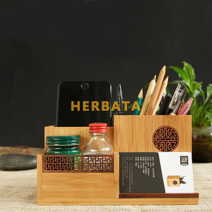 Image 4 - Multifunction Wooden & Bamboo Pen Pencil Holder Desktop Storage Box Retro Cosmetic Holder Creative Office Accessories CL 2524
