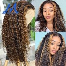 Destaque peruca ombre frente do laço perucas de cabelo humano para preto feminino mel marrom loira encaracolado indiano frontal fechamento perucas onda profunda