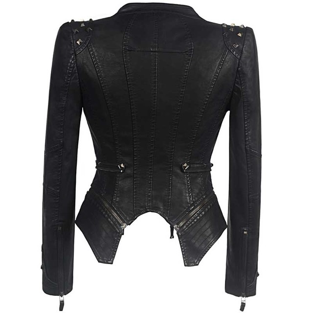 Sexy Leather Biker Jacket 2