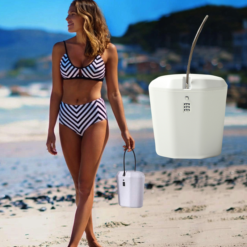 Password Code Lock Box With Line Anti-theft Safe Portable Beach Lock Bucket Indoor/Outdoor Sports Plastic Password Code Lock Box