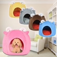 New Foldable Pet House&Bed Dog Cat Soft Kennel Mat Pad Warm Puppy Cushion Basket Household Family Home Accessories Dropshipping(China)