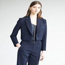 2019 Fall New Wear OL Professional Fashion Tibetan Blue Lake Collar Outer Suit Trendy Single Button 2 Piece Set Women