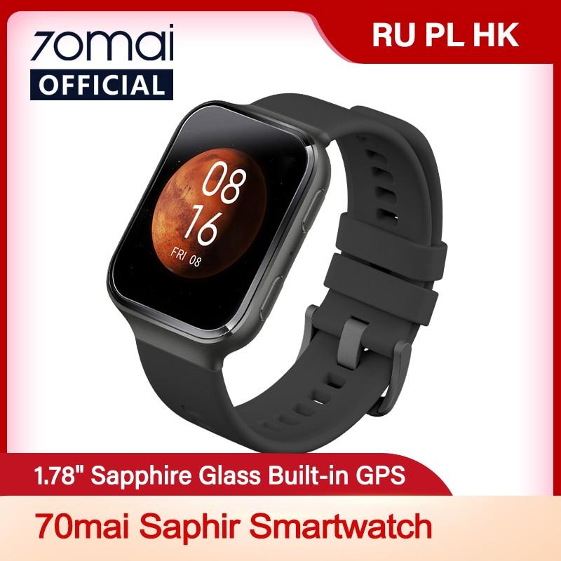 70mai Smart Watch 70mai Saphir Watch Bluetooth GPS Sport Heart Rate Monitor 5ATM Resistance Call Reminder 70mai Smartwatch APP Smart Watches  - AliExpress