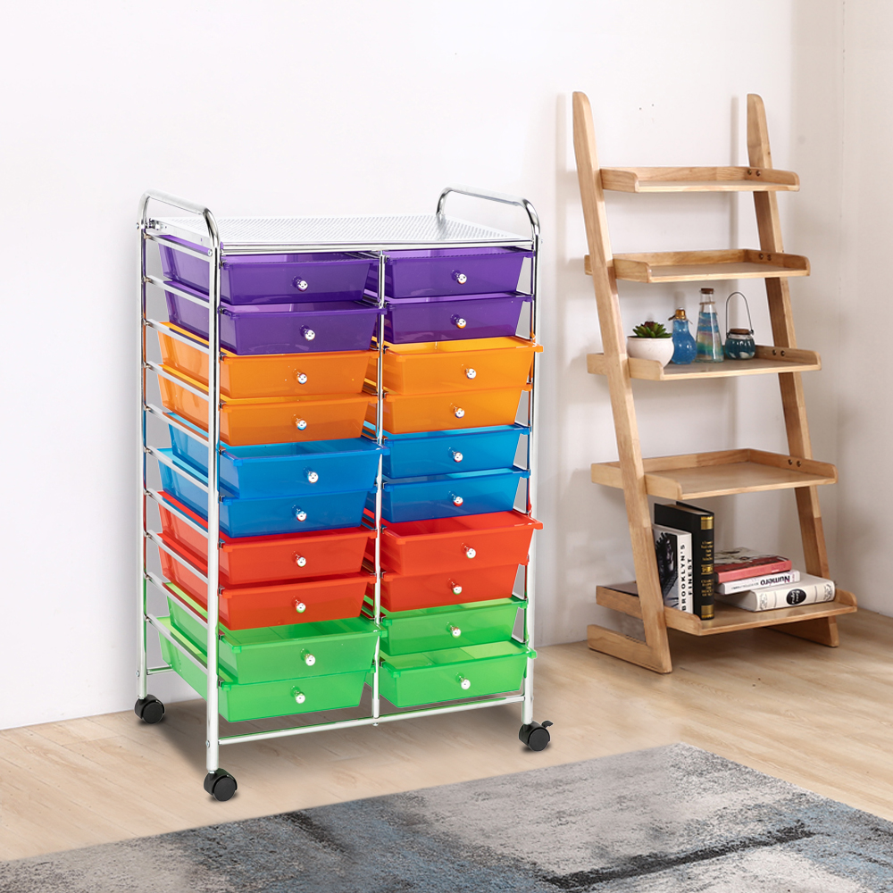 Portable 4 Drawers Cabinet Unit Storage Trolley on Wheel Cart Home Office Salon