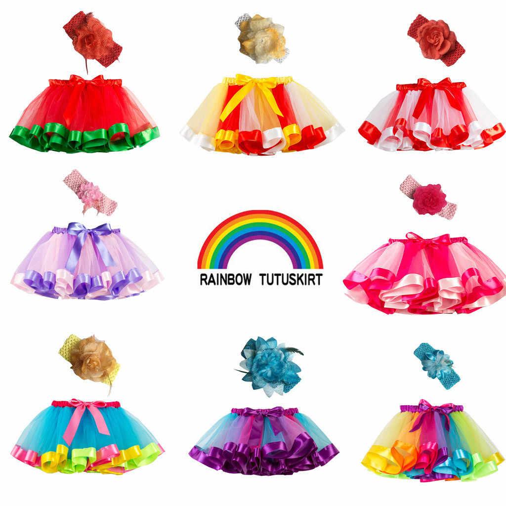 Falda tutú faldas para bebé o niña 1 a 8 años princesa Pettiskirt fiesta baile Arco Iris faldas de tul Ropa para Niñas ropa para niños