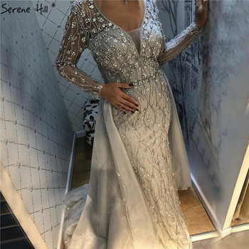 Dubai Luxury V-Neck Grey Evening Dresses 2020 Long Sleeves Diamond Mermaid Beading Formal Dress Serene Hill LA70341