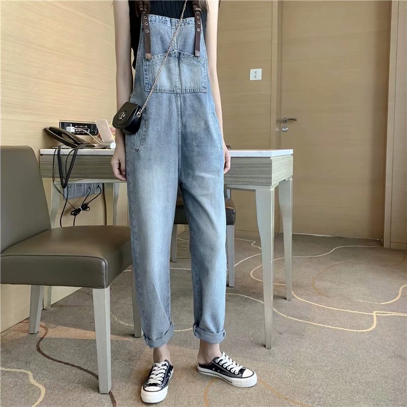 2019 Autumn And Winter New Denim Overalls Women Loose Trend Fashion Cute High Waist Pockets Ankle Length Jeans Plus Size