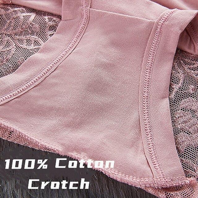 Women's Cotton Underwear Panties Sexy Lace Mid-Waist Hollow  6