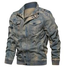coat Mens Denim Jacket Big Size 6XL Military Tactical Jeansjacket Autumn thin mens lapel cotton washed denim jacket large size