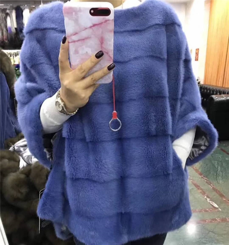 BFFUR 2019 Real Mink Fur Coat Women Full Pelt Natural Mink Fur Jacket With Zipper Luxury Fur Ponchos And Capes Woman Outwear