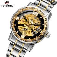 Wristwatch Mechanical-Watch FORSINING Stainless-Steel Waterproof Hand-Wind Luxury Relogio