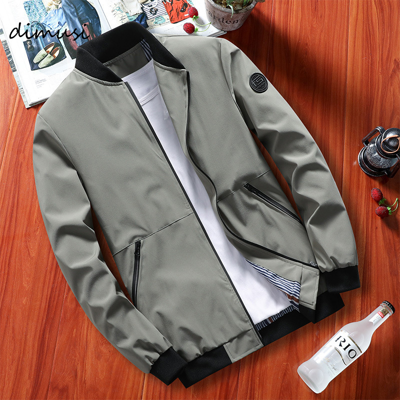DIMUSI Autumn Mens Bomber Jackets Casual Male Outwear Military Windbreaker Coats Men Stand Collar Slim Baseball Jackets Clothing