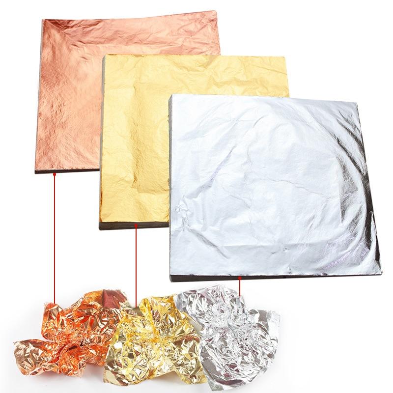 100pcs 14x14cm New Art Craft Paper Imitation Gold Sliver Copper Leaf Leaves Sheets Foil Paper For Gilding DIY Craft Decoration
