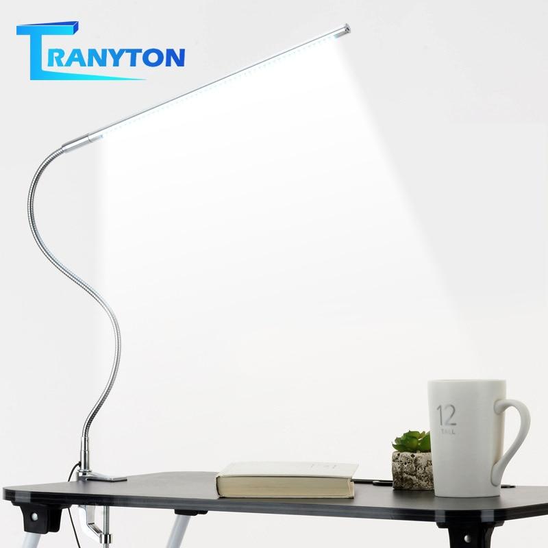 Lámpara de mesa de brazo largo 48 LEDs, lámpara de escritorio LED de oficina montada en Clip, lámpara de lectura Flexible con protección ocular y cuello de cisne USB para estudio de trabajo
