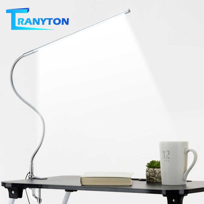 Lampa biurkowa z długim ramieniem 48 LEDs Clip Mounted biurowa lampa biurkowa led USB elastyczna gęsia szyja ochrona oczu lampy do czytania do pracy
