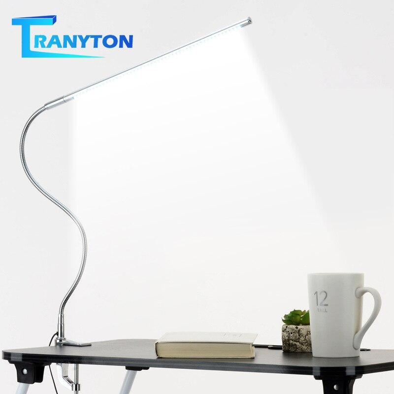 Uzun kol masa lambası 48 LED klip monte ofis LED masa lambası USB esnek Gooseneck göz koruması okuma lambaları çalışma çalışması