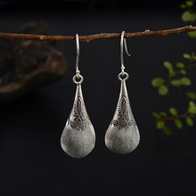 Fyla Mode Unique 925 Thai Silver Flower Fish Carved Drop Dangle Fashion Vintage Earrings For Women Jewelry 14*41MM 7.30G WTH023
