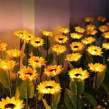 Led solar luzes do jardim girassol gramado luz ao ar livre paisagismo iluminação à prova dwaterproof água solar luz para pátio caminho jardim decoração